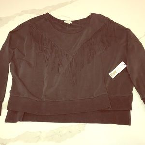 Amuse fringed distressed sweater